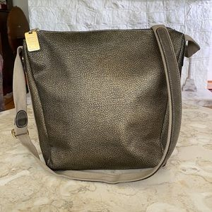 Borbonese by Redwall Bronze Leather Bucket Bag